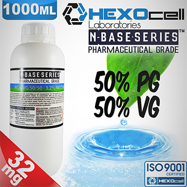 DIY - HEXOCELL ELİKİT BASE 1000ml - 50PG 50VG - 32mg/ml NİKOTİN